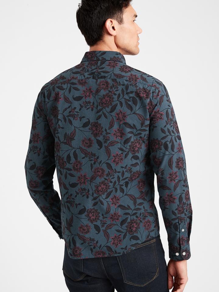 Erkek Lacivert Untucked Slim-Fit Luxe Poplin Gömlek