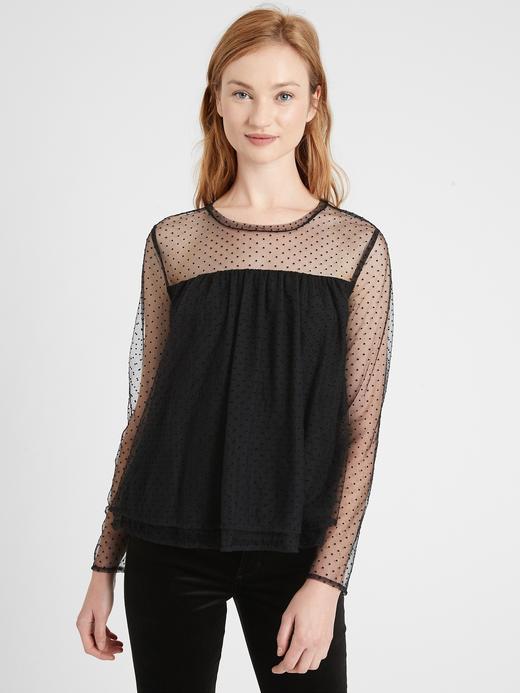 Kadın Siyah Tül Detaylı Bluz