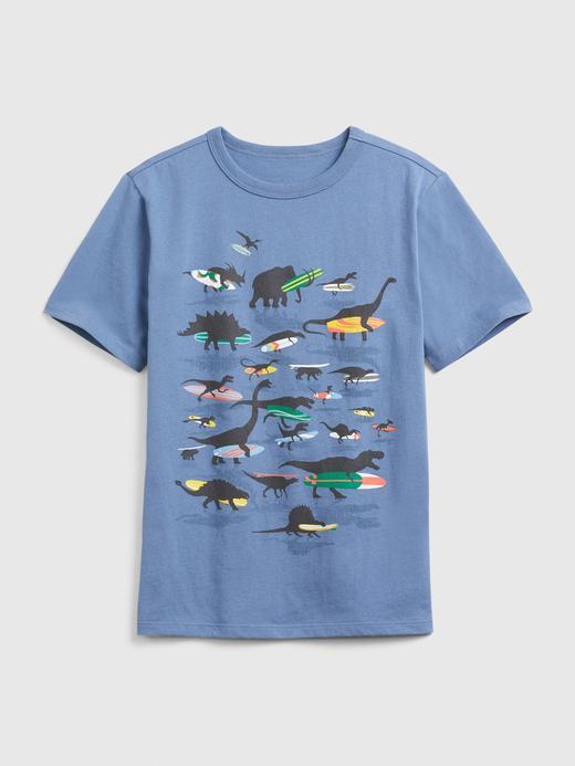 Erkek Çocuk Mavi Kısa Kollu Grafik T-Shirt