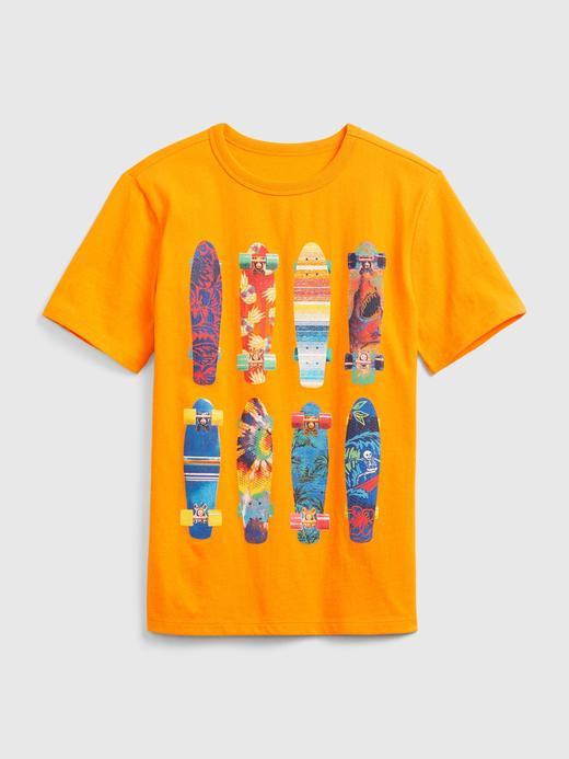 Erkek Çocuk Turuncu Kısa Kollu Grafik T-Shirt