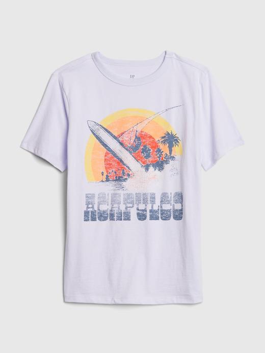 Erkek Çocuk Mor Kısa Kollu Grafik T-Shirt