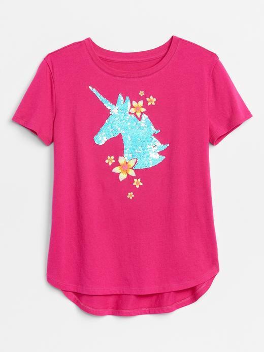 Kız Çocuk Pembe Değişen Pullu Kısa Kollu T-Shirt