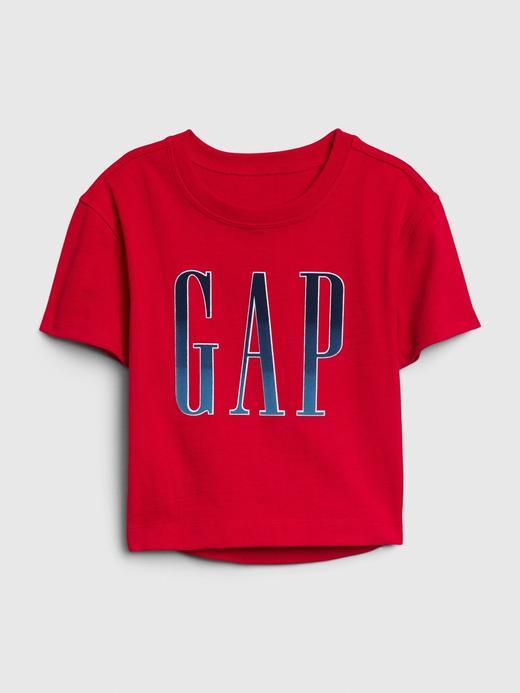 Kız Bebek Kırmızı Gap Logo Kısa Kollu T-shirt