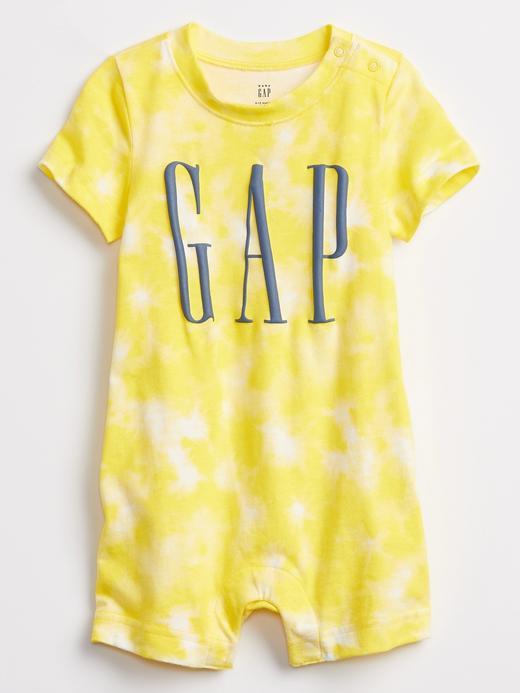 Erkek Bebek Sarı Gap Logo Kısa Kollu Tulum