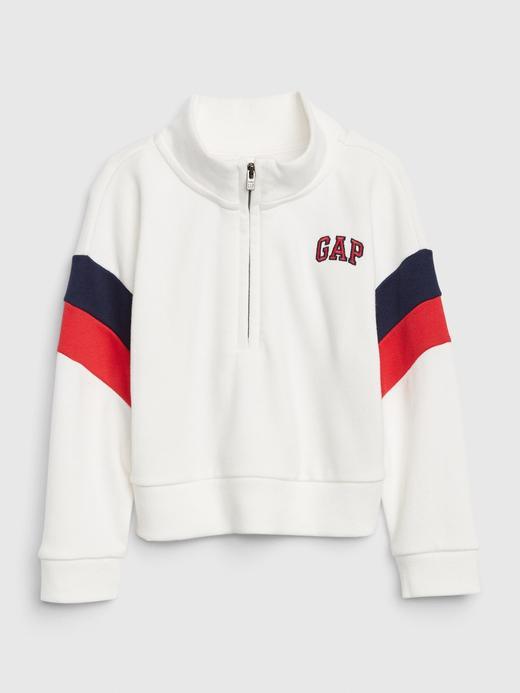 Kız Bebek Beyaz Gap Logo Yarım Fermuarlı Sweatshirt