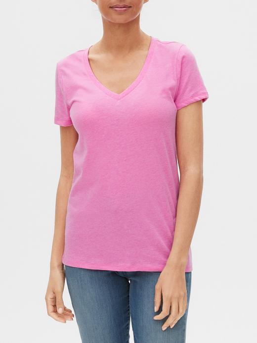 Kadın Pembe Favorite V Yaka T-Shirt