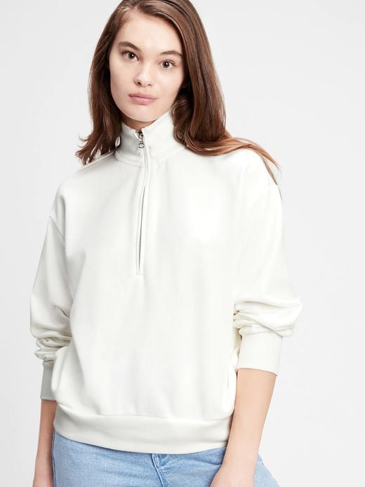 Kadın Beyaz Yarım Fermuarlı Sweatshirt