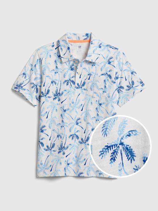 Erkek Çocuk Beyaz Desenli Polo Yaka T-Shirt
