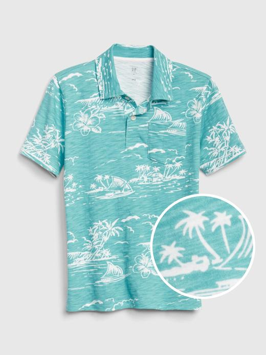 Erkek Çocuk Mavi Desenli Polo Yaka T-Shirt
