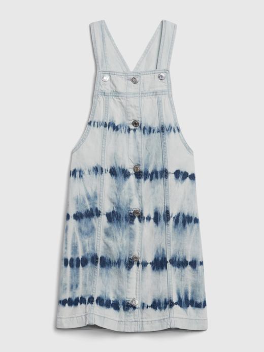 Kız Çocuk Mavi Denim Tie-Dye Salopet