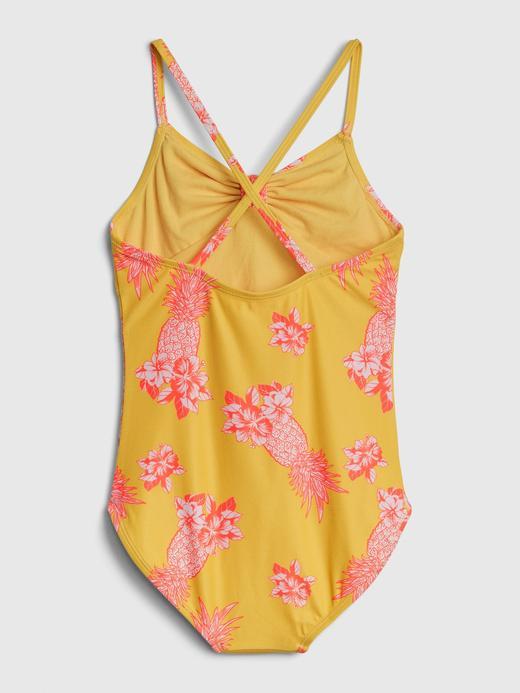 Kız Çocuk Sarı Çiçek Desenli Mayo