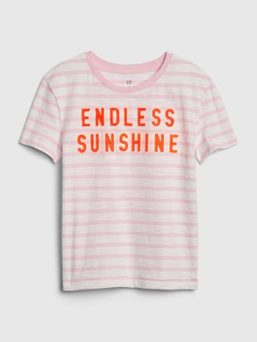 Kız Çocuk Pembe Kısa Kollu Çizgili T-Shirt