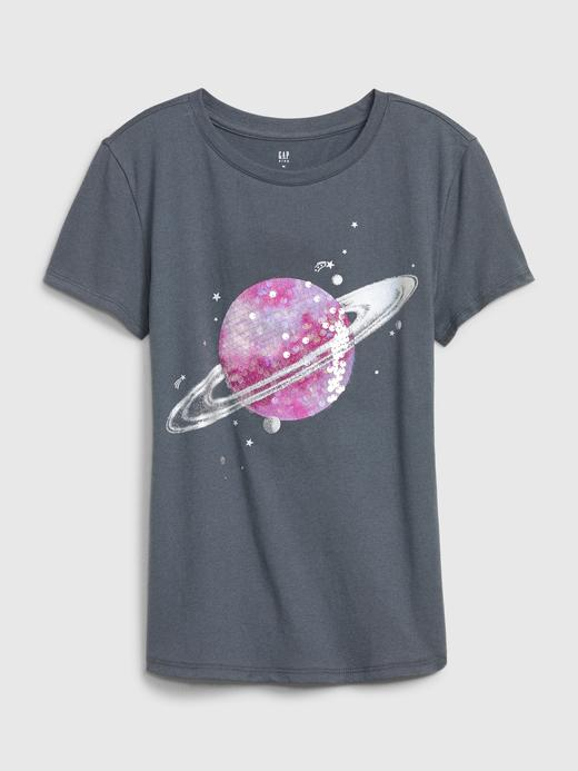 Kız Çocuk Gri Kısa Kollu Grafik T-Shirt