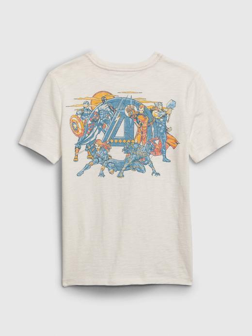 Erkek Çocuk Beyaz Marvel Avengers Grafik T-Shirt