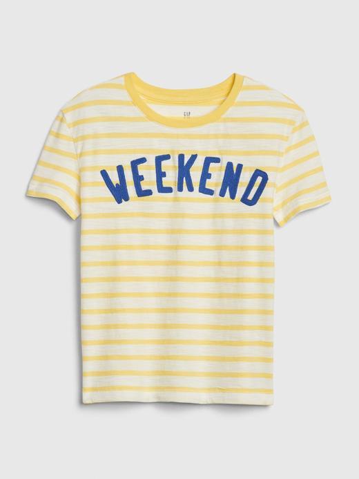Kız Çocuk Sarı Kısa Kollu Çizgili T-Shirt