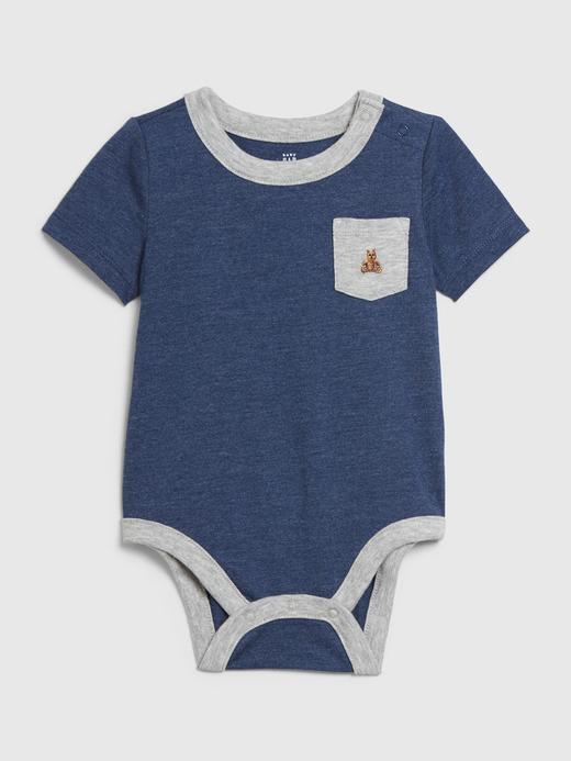 Erkek Bebek Mavi Kısa Kollu Body