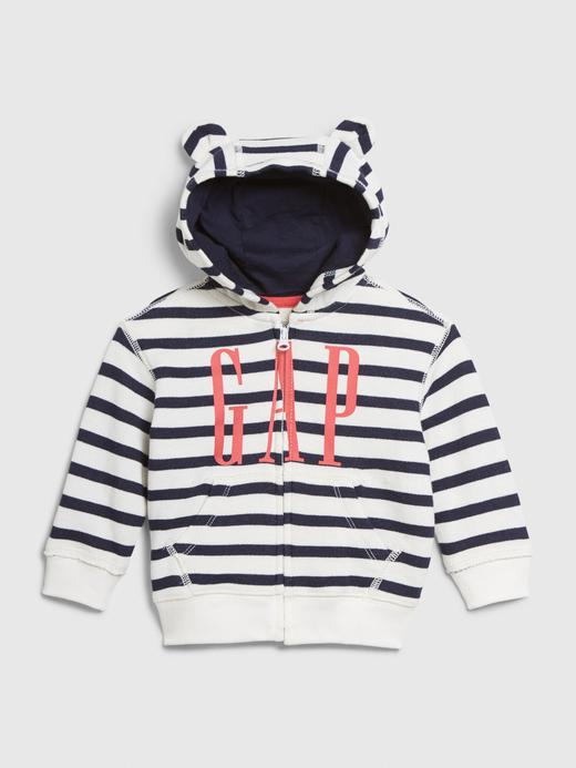 Erkek Bebek Beyaz Gap Logo Kapüşonlu Sweatshirt