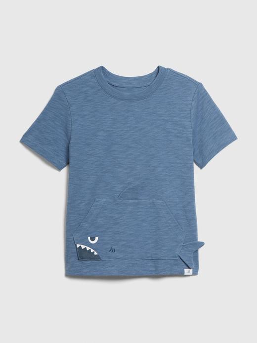 Erkek Bebek Mavi 3 Boyutlu Cep Detaylı T-Shirt