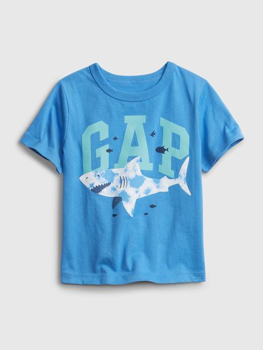 Erkek Bebek Mavi Gap Logo Kısa Kollu T-shirt