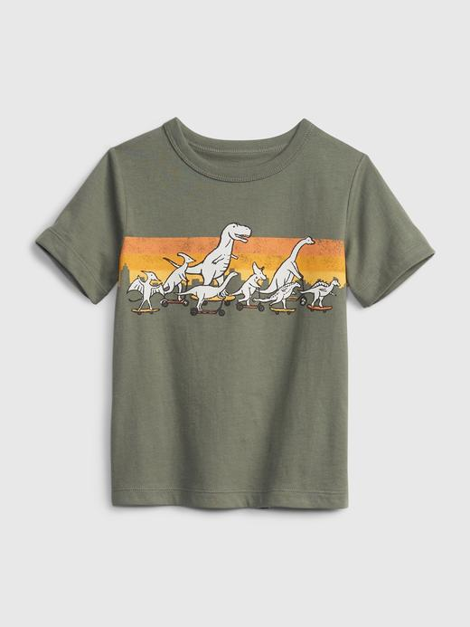 Erkek Bebek Yeşil Organik Pamuklu Grafik T-Shirt