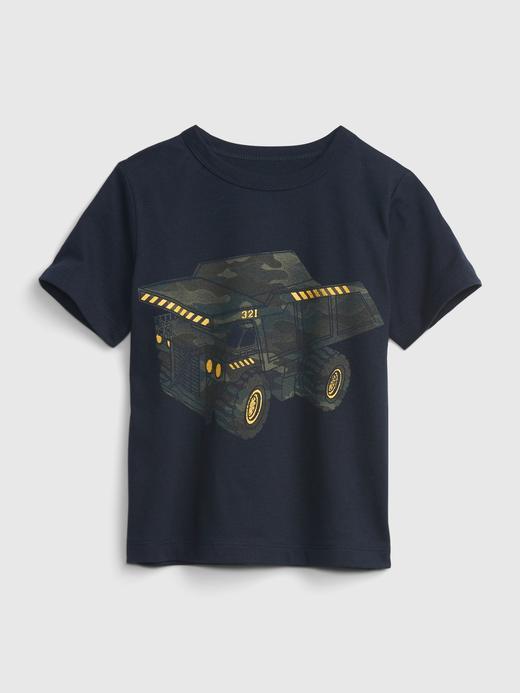 Erkek Bebek Lacivert Organik Pamuklu Grafik T-Shirt