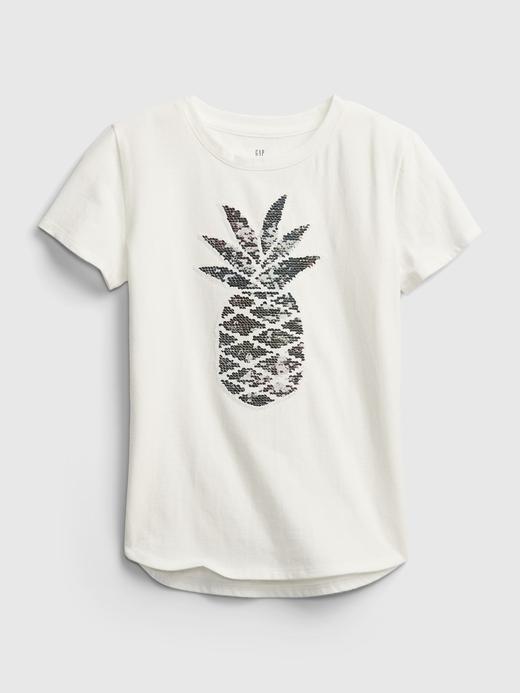 Kız Çocuk Gri Değişen Pullu Kısa Kollu T-Shirt