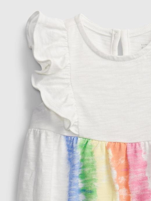Kız Bebek Beyaz Gökkuşağı Desenli Tulum