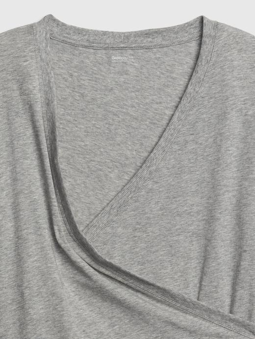 Gri Maternity V Yaka T-Shirt
