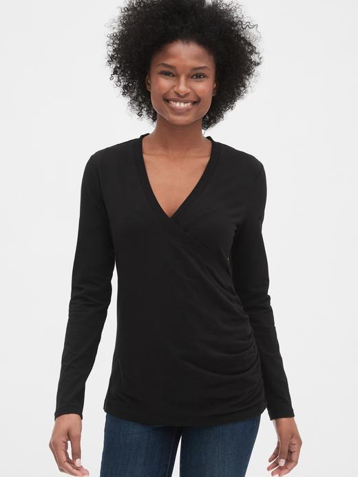 Siyah Maternity V Yaka T-Shirt