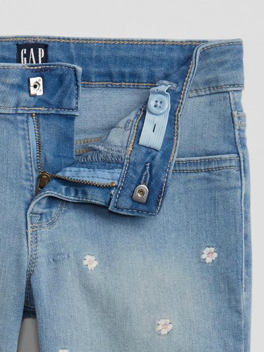 Kız Çocuk Mavi İşlemeli Legging Jean Pantolon