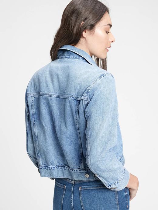 Kadın Mavi Cropped Denim Ceket