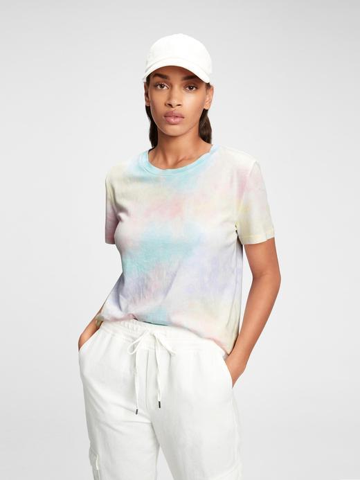 Kadın Çok Renkli Vintage Tie-Dye T-Shirt
