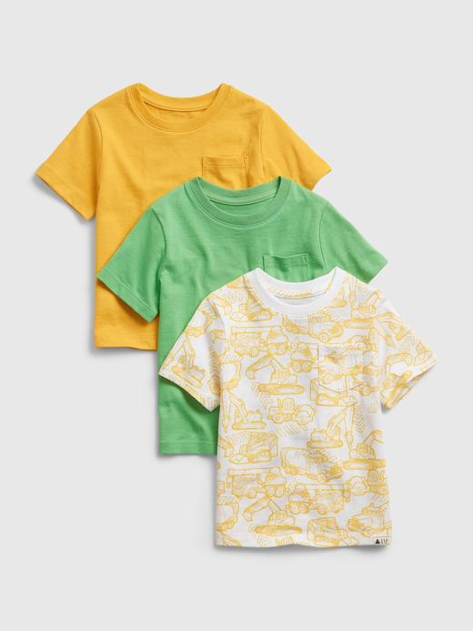 Erkek Bebek Sarı 3'lü Organik Pamuklu T-Shirt Seti