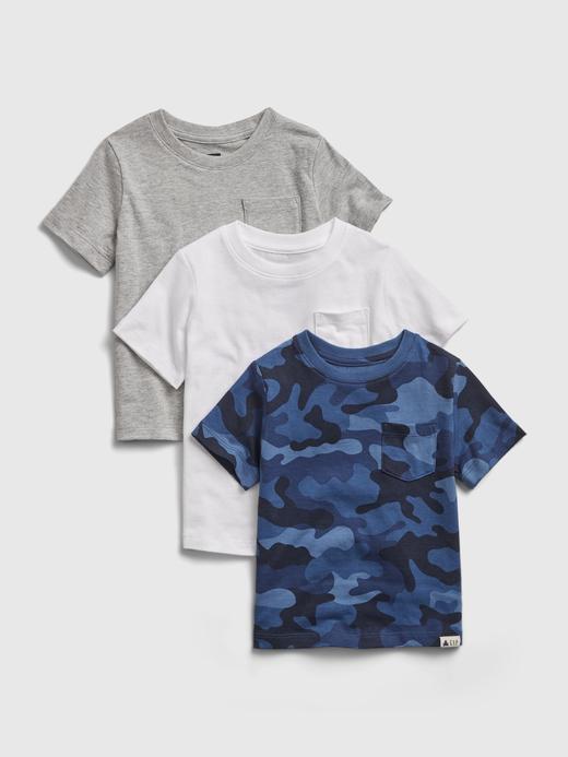 Erkek Bebek Lacivert 3'lü Organik Pamuklu T-Shirt Seti
