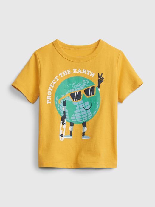 Erkek Bebek Sarı Organik Pamuklu Grafik T-Shirt