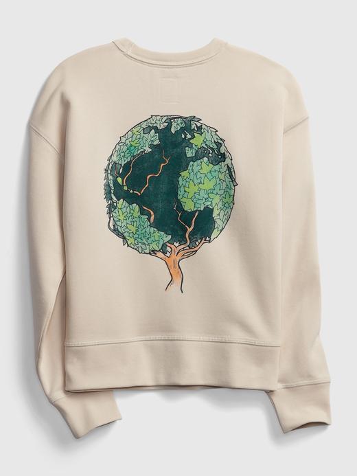 Erkek Çocuk Bej Yuvarlak Yaka Grafik Sweatshirt