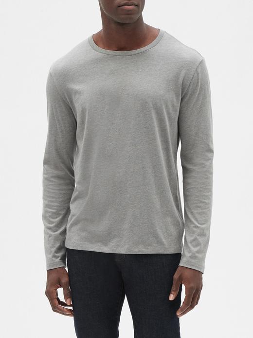 Erkek Gri Yuvarlak Yaka Uzun Kollu T-Shirt