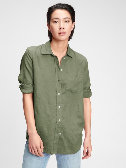 Kadın Yeşil Keten Boyfriend Gömlek