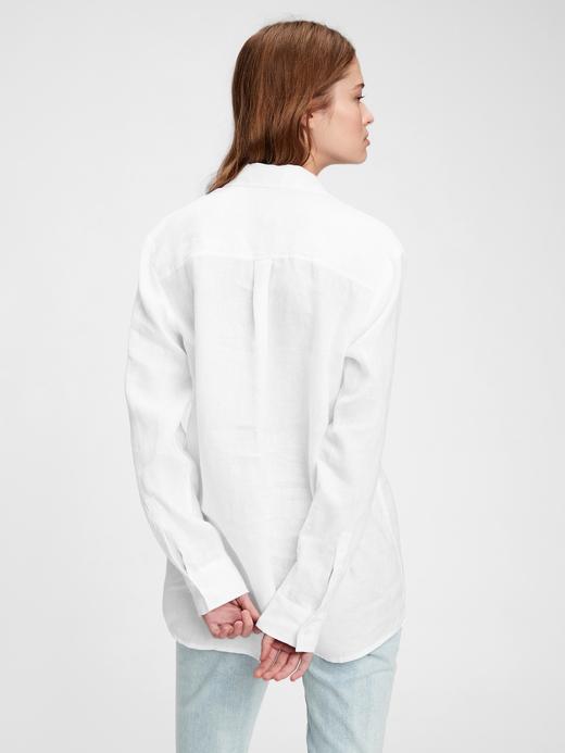 Kadın Beyaz Keten Boyfriend Gömlek