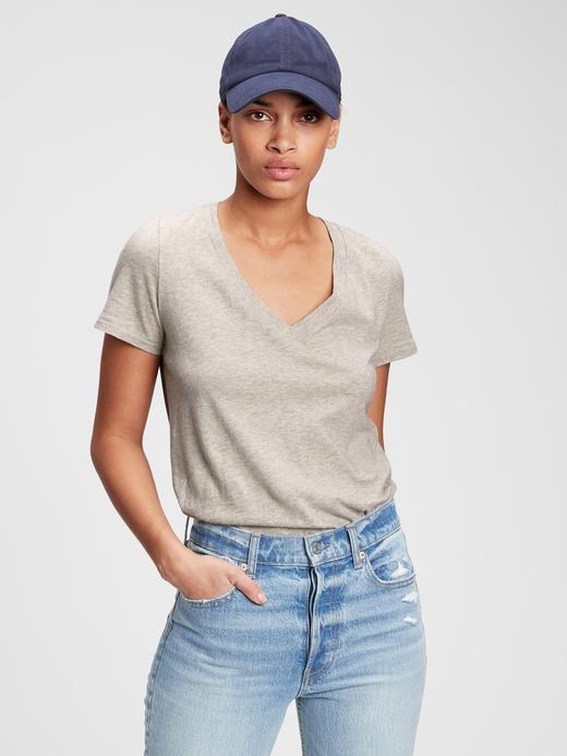 Kadın Gri Organik Pamuklu V Yaka T-Shirt
