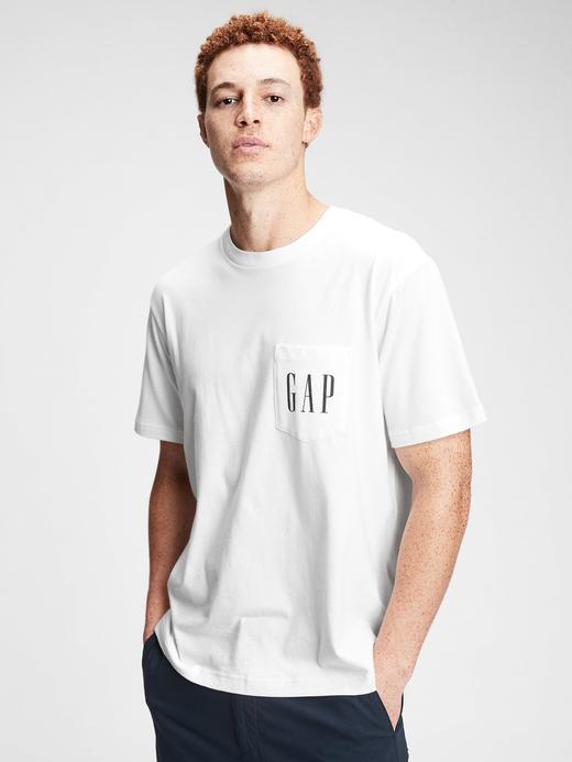 Erkek Beyaz Gap Logo Cepli T-Shirt
