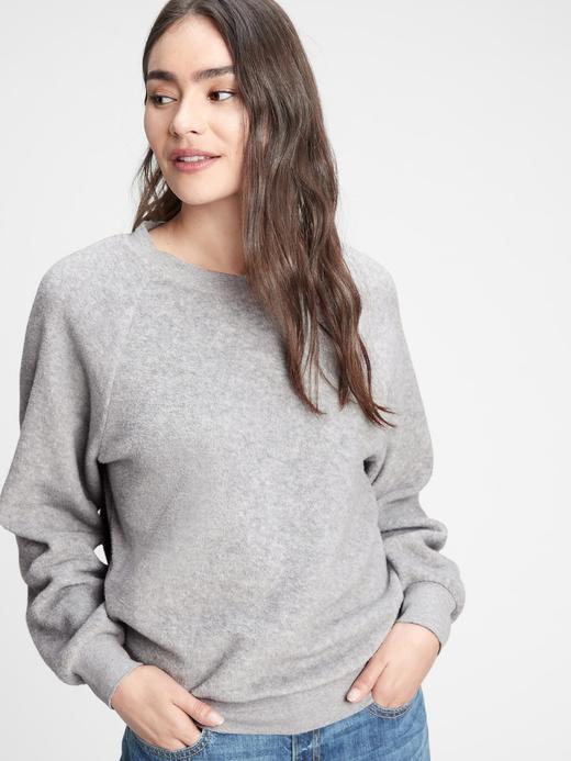 Kadın Gri Yuvarlak Yaka Sweatshirt