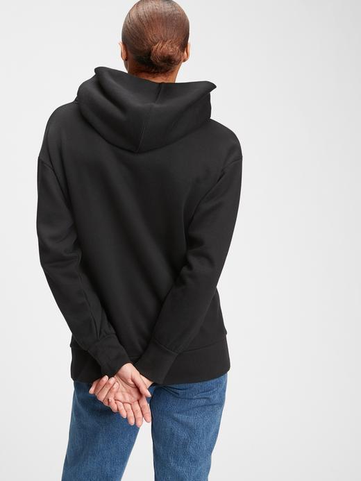 Kadın Siyah Vintage Oversized Kapüşonlu Sweatshirt