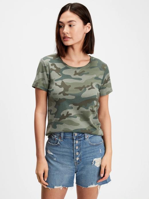 Kadın Yeşil Favorite Desenli Yuvarlak Yaka T-Shirt