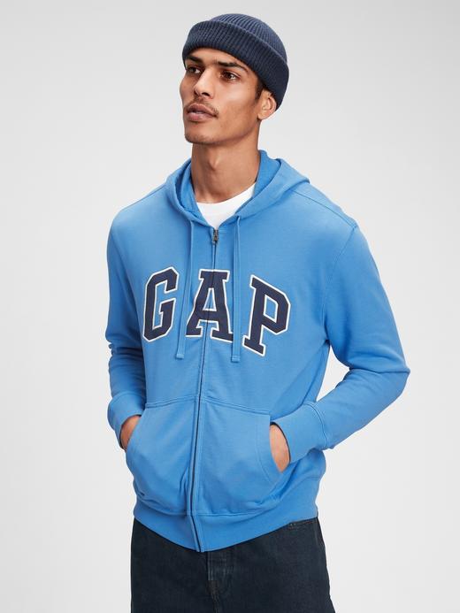 Erkek Mavi Gap Logo Kapüşonlu Sweatshirt