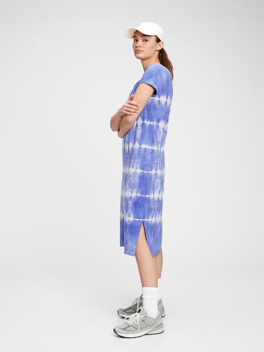 Kadın Mavi Midi T-Shirt Elbise