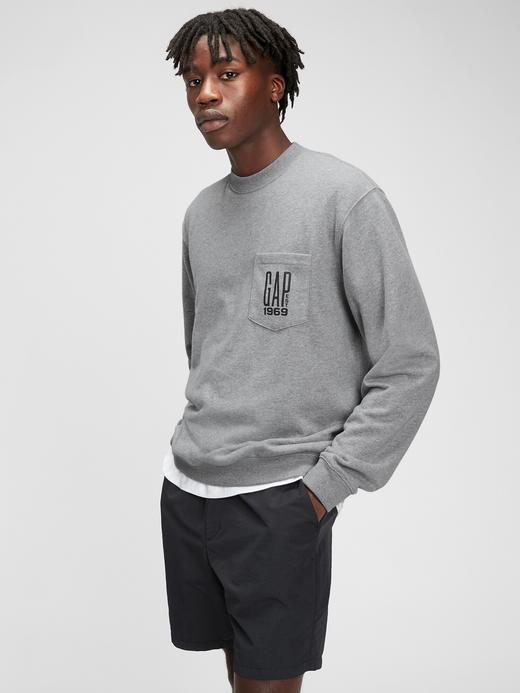 Erkek Gri Gap Logo Yuvarlak Yaka Sweatshirt