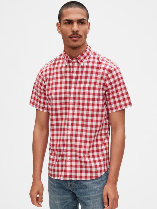 Erkek Kırmızı Kısa Kollu Poplin Gömlek