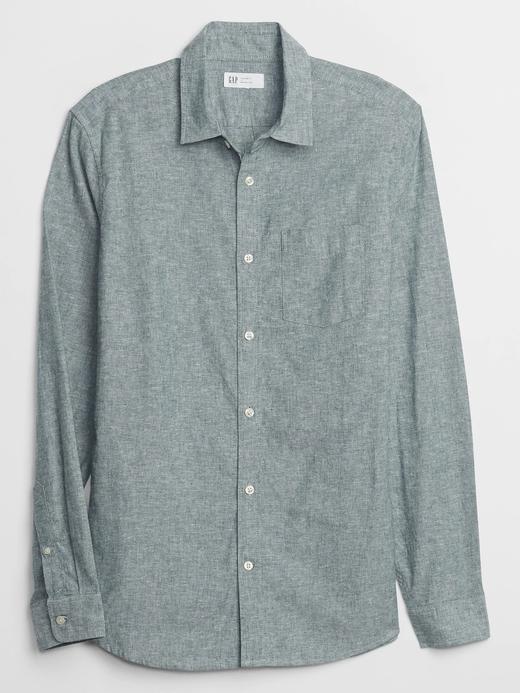 Erkek Yeşil Uzun Kollu Keten Gömlek