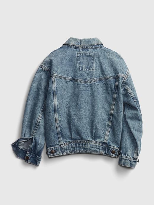 Genç Kız Mavi Genç Kız   Teen Oversize Denim Ceket
